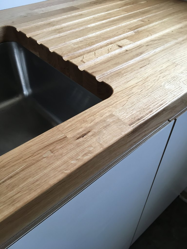 Bespoke plywood kitchen with solid oak worktop made by Jon Grant London in Leyton, East London.