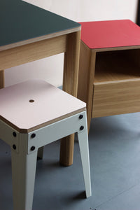 Forbo linoleum furniture range. Starting from linoleum dining tables, desks, stools to bedside tables. Designed and made by Jon Grant London in Leyton, East London.