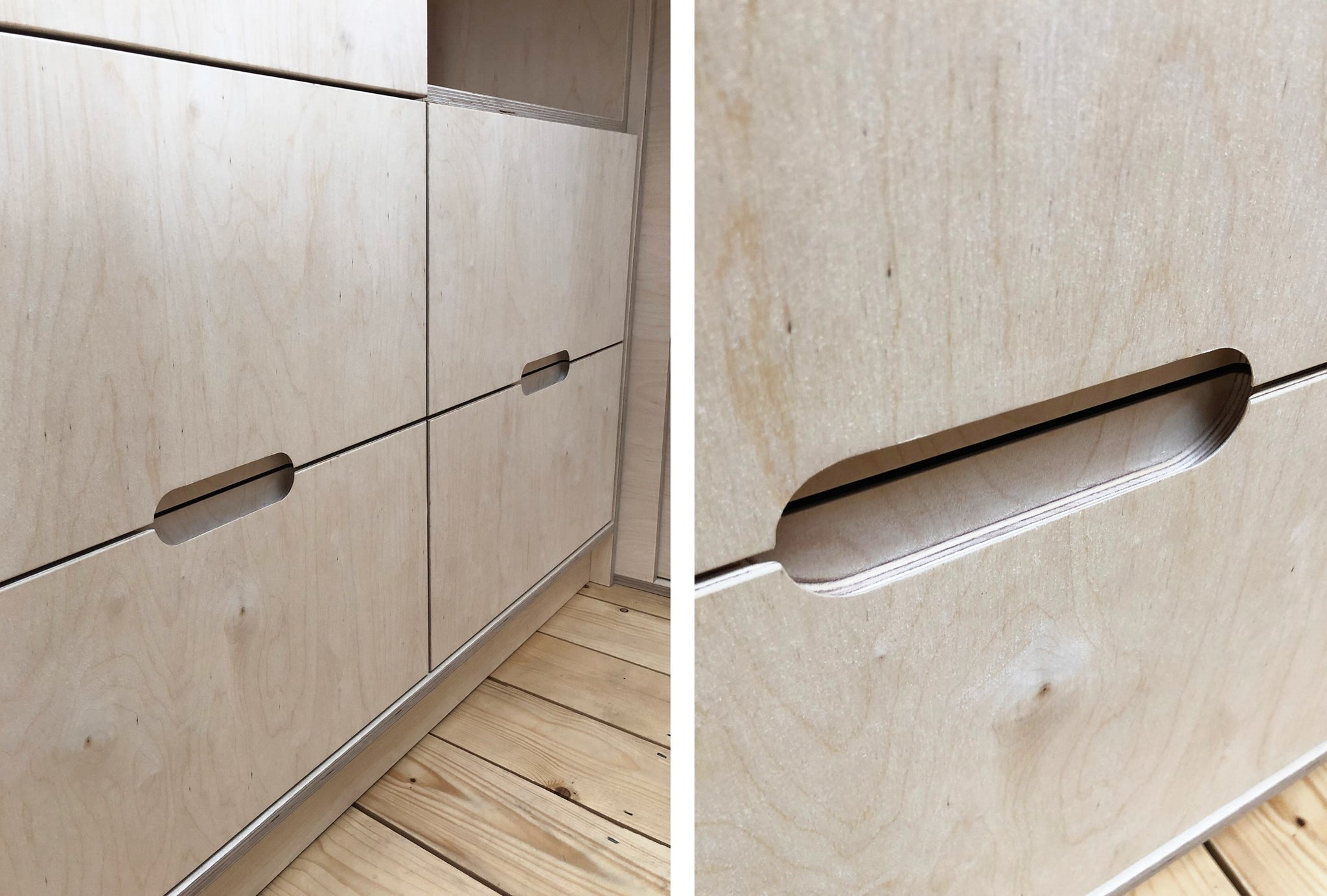 Bespoke fitted wardrobe in raw birch plywood and is featuring finger pull handles & soft close drawers. Designed and made by Jon Grant London in Leyton, East London.