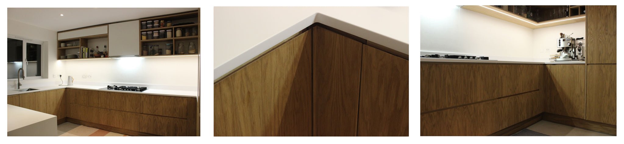Bespoke handmade kitchen featuring Corian worktop and oak shelves. Made by Jon Grant London in Leyton, East London.