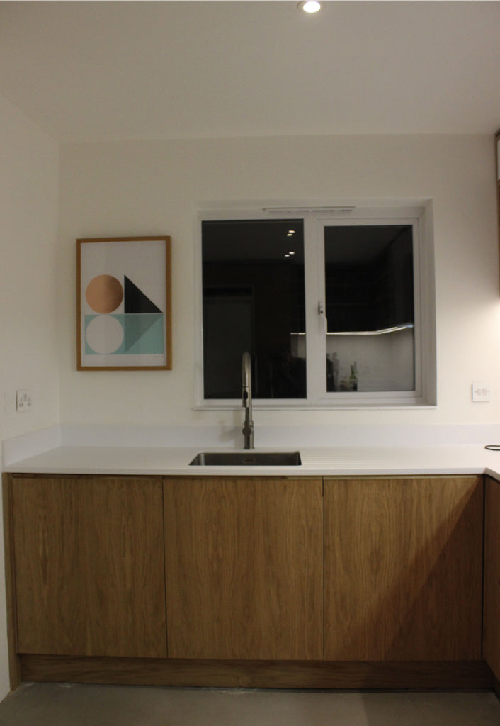 Bespoke Corian, oak & plywood made by Jon Grant London in Leyton.