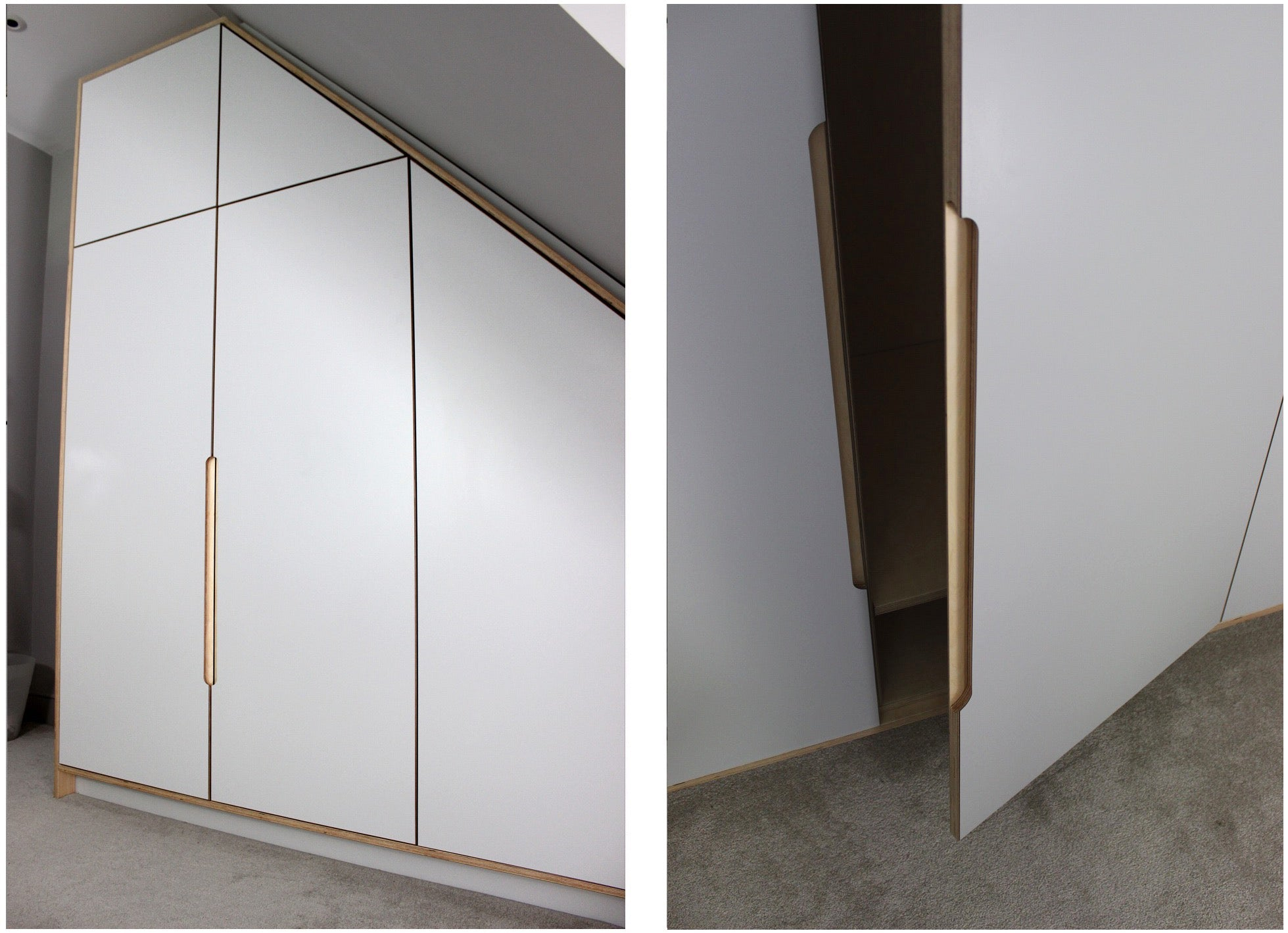 Bespoke laminated plywood fitted wardrobe. Bespoke furniture made by Jon Grant London. East London.