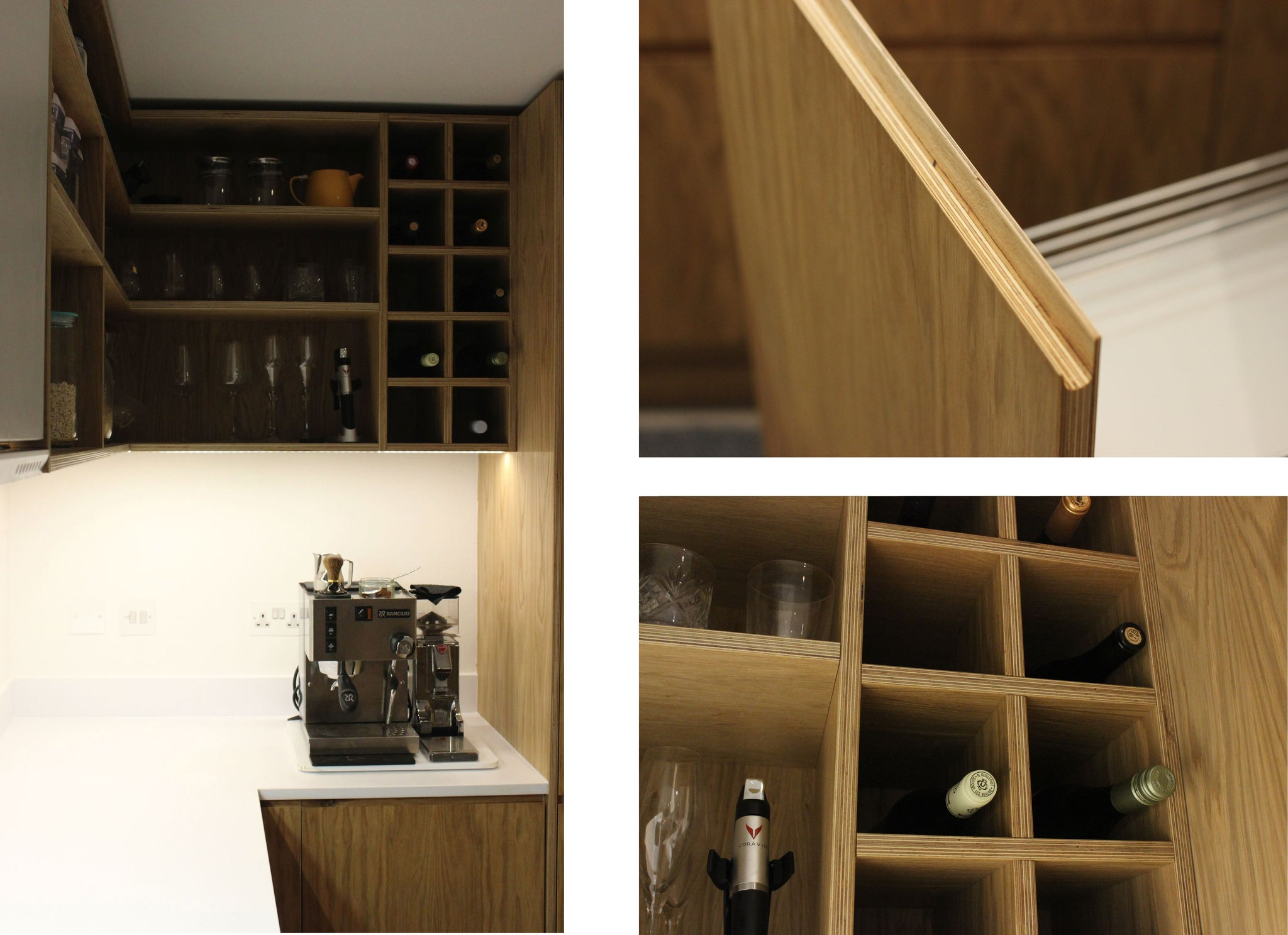 Bespoke oak shelving unit made by Jon Grant London in East London.