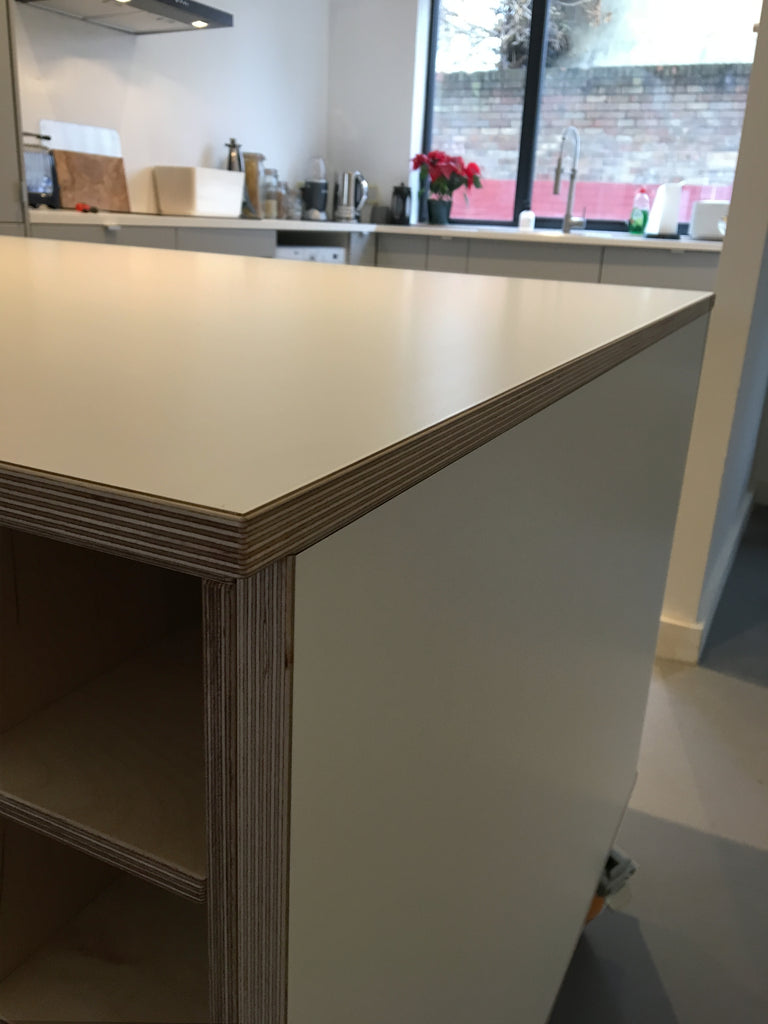 Bespoke plywood kitchen island made by Jon Grant London in Leyton, East London.