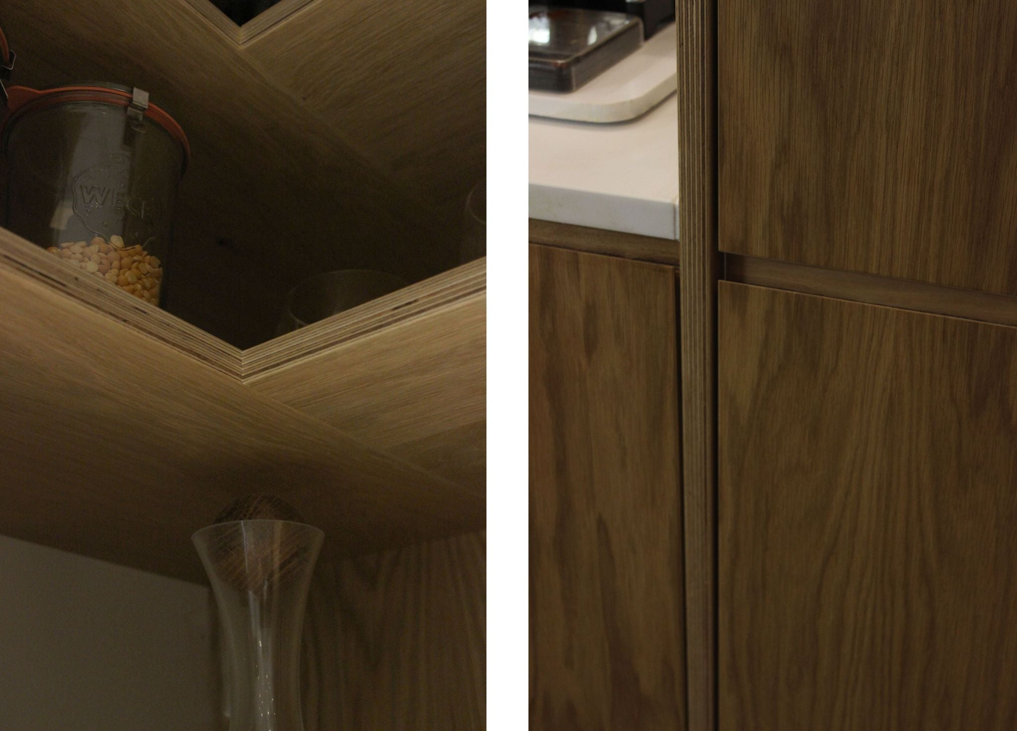 Bespoke oak veneer shelves for the kitchen made by Jon Grant London in East London.