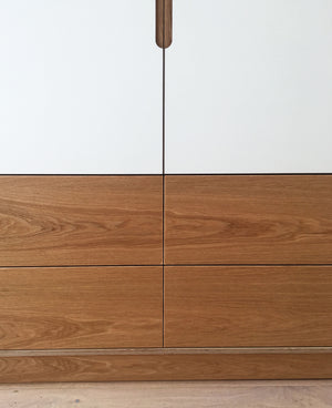 Bespoke oak & plywood fitted wardrobe made by Jon Grant London in Leyton, East London.