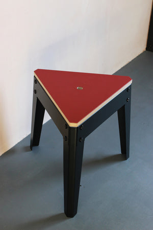 Forbo lino top stool with powder coated metal legs. Designed and made by Jon Grant London.
