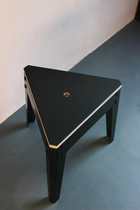 Jesse low stool with Forbo linoleum top and powder coated metal legs. Designed and made by Jon Grant London in Leyton, East London.