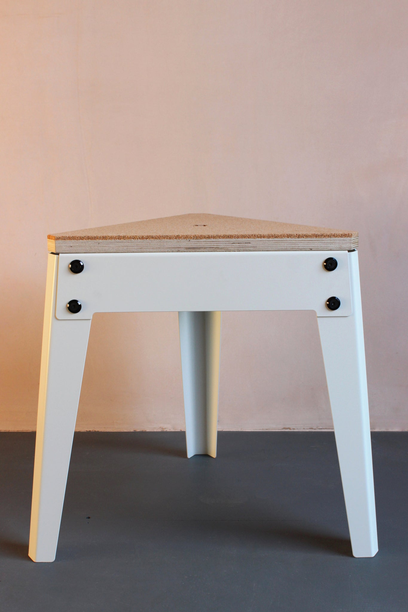 Jesse 3 Leg Stool with Cork Top and white steel frame