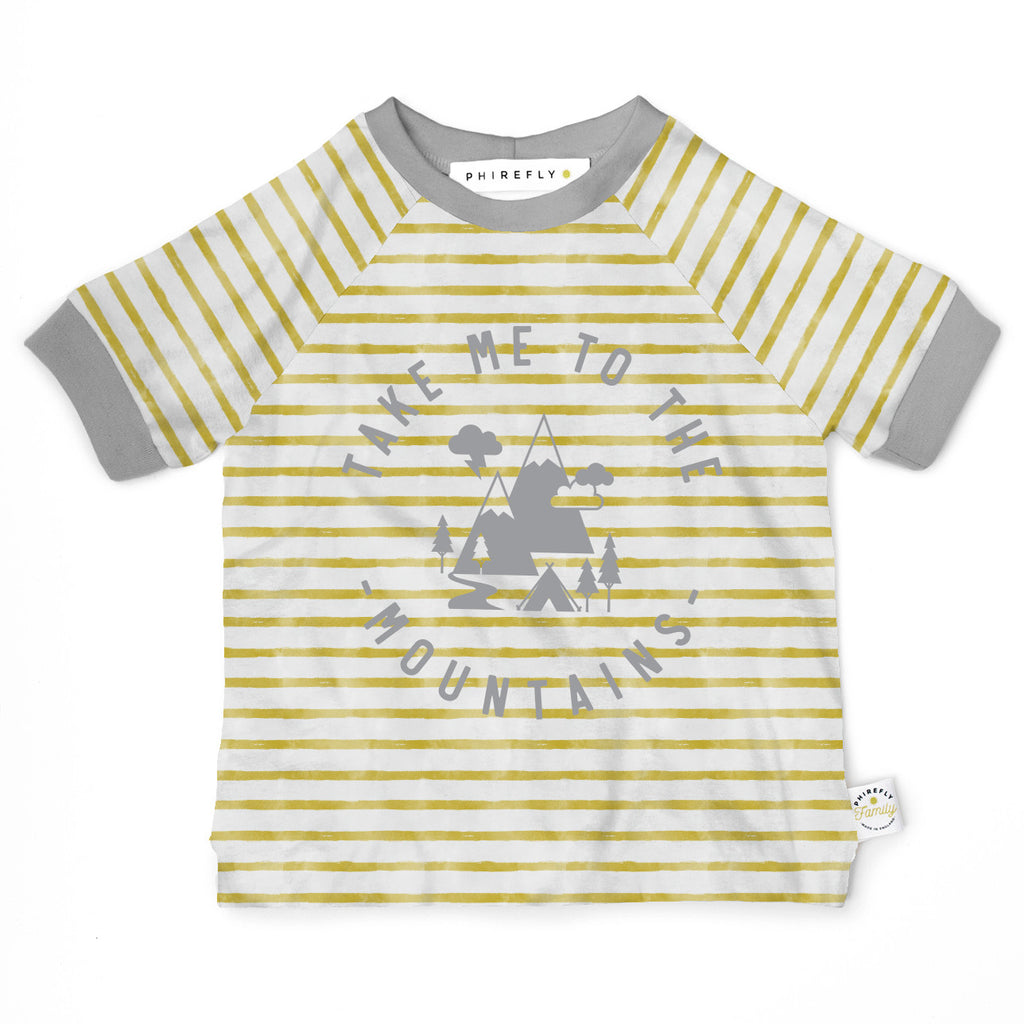 Mountain Print Breton Stripe Kids Organic Cotton T-shirt