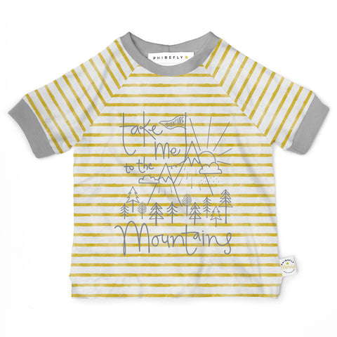 Personalised breton stripe kids organic cotton t-shirt mountain print