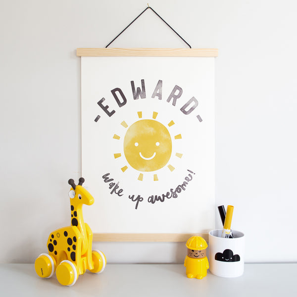 Personalised Monochrome Sun Poster Wall Art