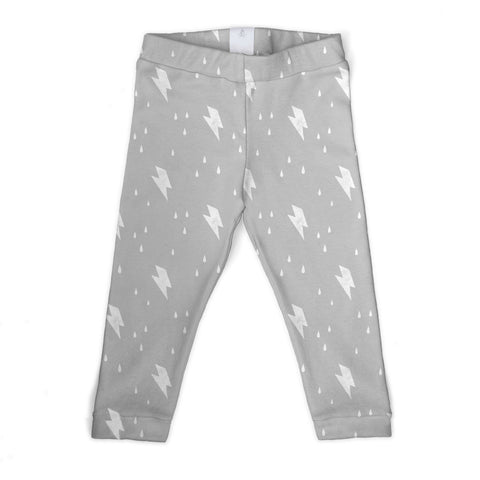 thunderbolt lightening print organic cotton kid's leggings