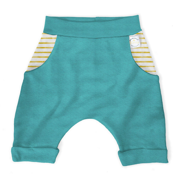 Teal Cropped Harem Trouser with Stripe Contrast Pocket Age 3-4 Years