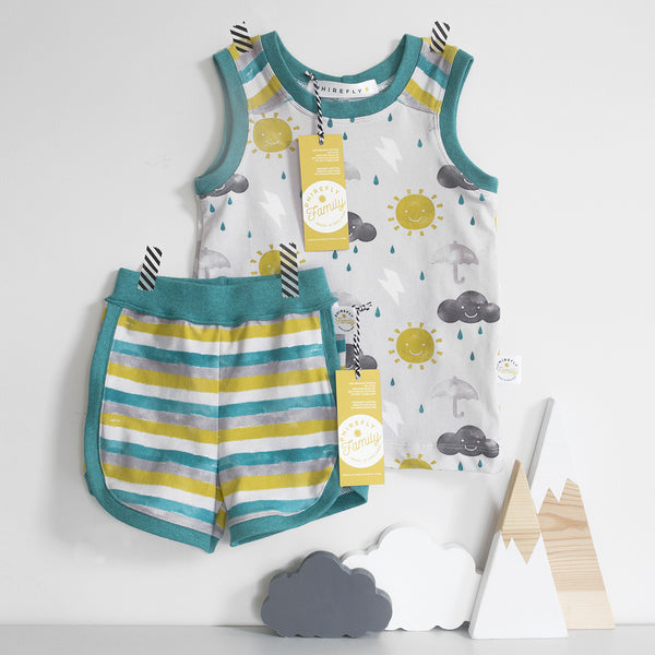 Happy Weather Vest with Multicolour Stripe Yoke Age 1-2