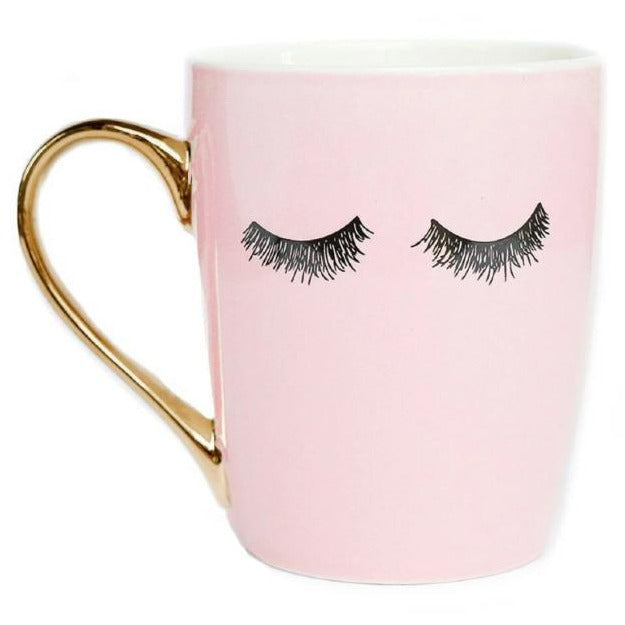 Boss Lady Eyelashes 16 Ounce Coffee Mug Pink - RollinsCafe