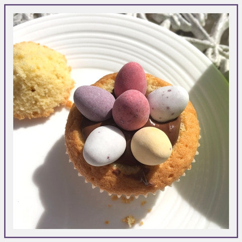decorate the top with mini eggs