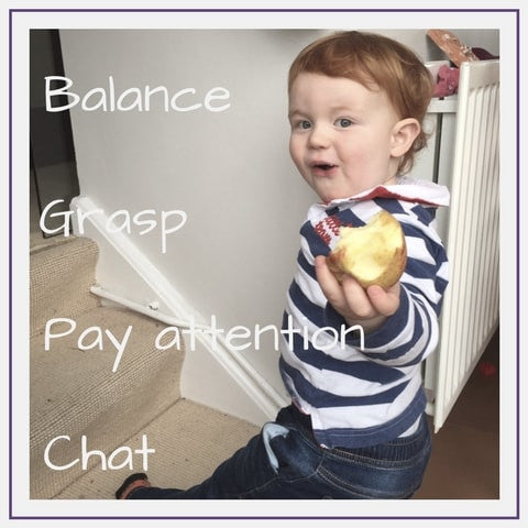 Two year olds can balance, grasp, pay attention, chat