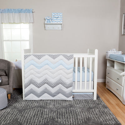 Blue Chevron 3 Piece Crib Bedding Set