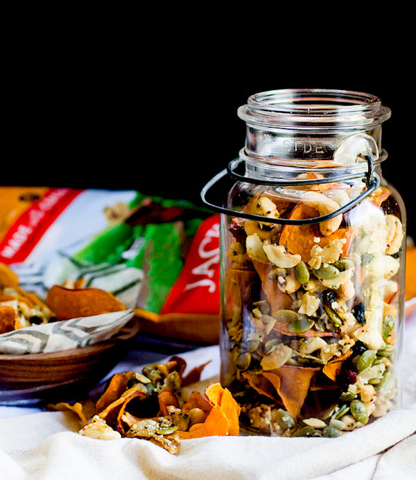 Honey Nut Cluster & Sweet Potato Chip Snack Mix :: Paleo Recipe
