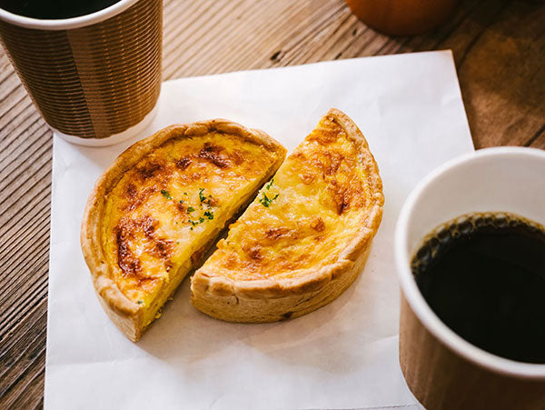 Quiche with coffee