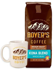 Special Boyers Only Offer - Coffee Mug - Kona Blend - 12 Ounce Bag - Whole Bean - Surname