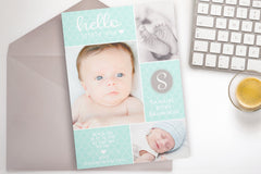 Baby Blue birth announcement card