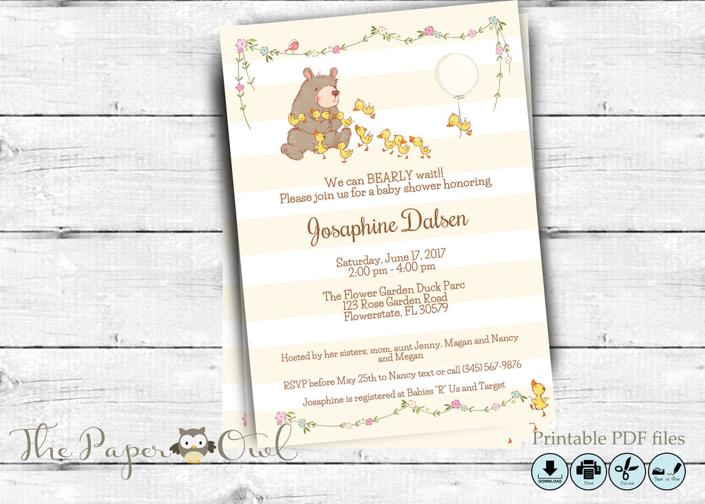 Bear Baby Shower invitation, printable - the paper owl