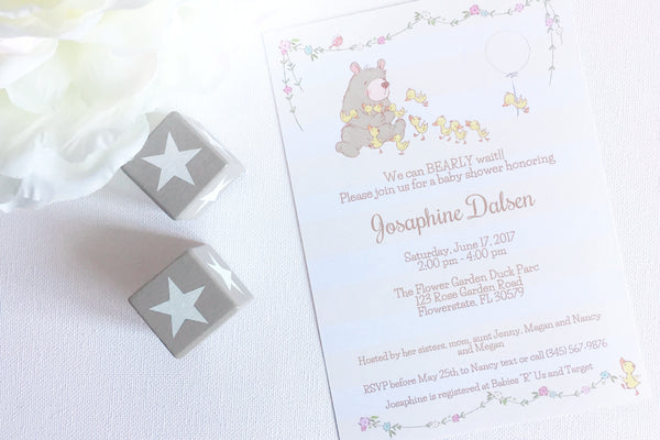 Bear Baby Shower invitation, editable, printable - the paper owl