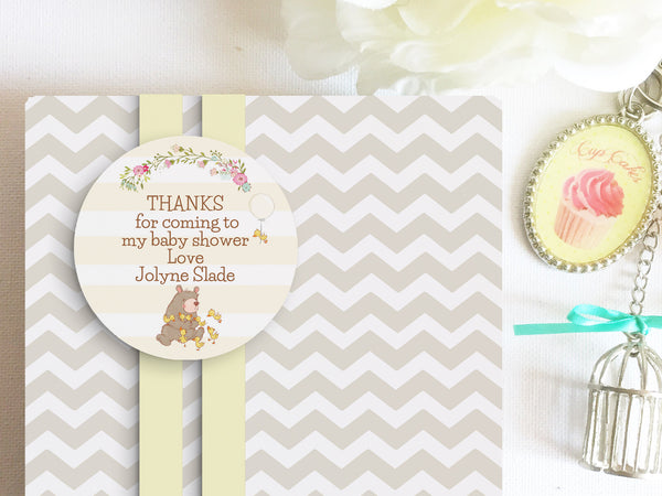 Bear 2'inch circle thank you tag, editable, printable - the paper owl