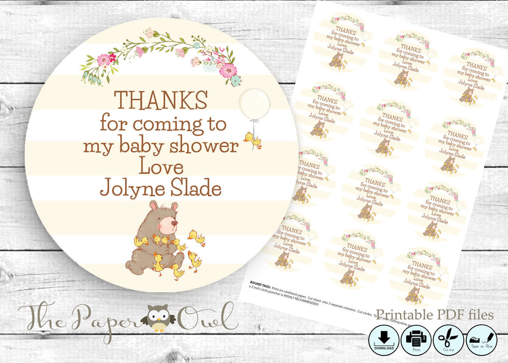 Bear 2'inch circle thank you tag, printable - the paper owl