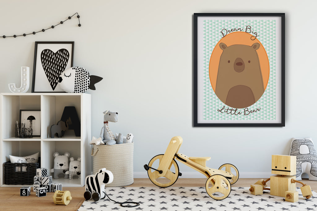 Printable Brown Grizzly Bear poster wall art