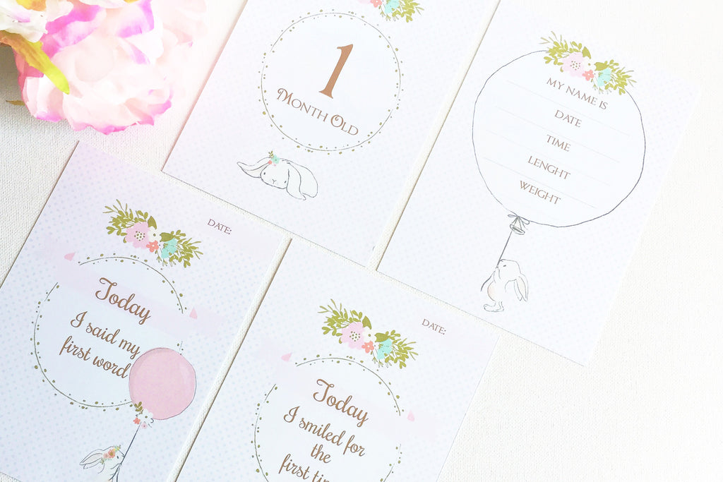 Bunny Baby milestone & month cards, prinable - the paper owl