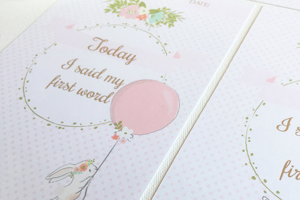 Bunny Baby milestone cards, prinable - the paper owl