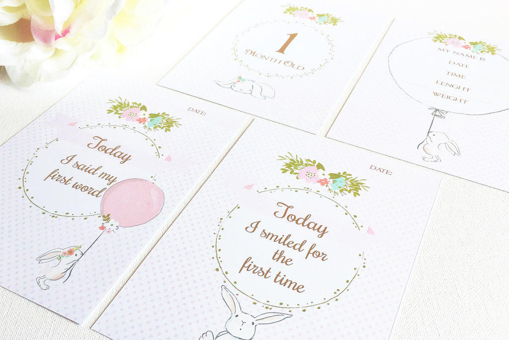 Bunny Baby milestone and month cards, prinable - the paper owl