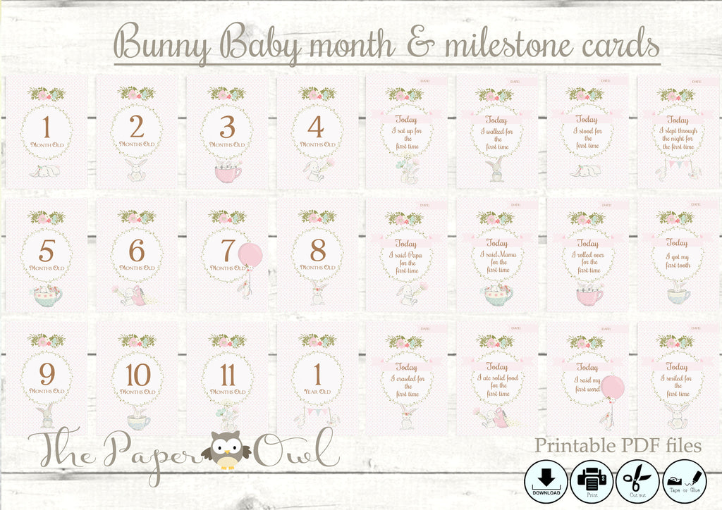 Bunny Baby month cards, prinable - the paper owl