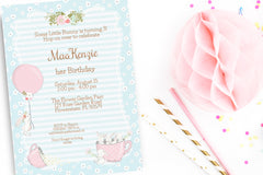 Bunny Birthday Party invitation, editable, printable - the paper owl