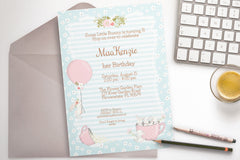 Bunny Birthday Party invitation, printable, diy - the paper owl