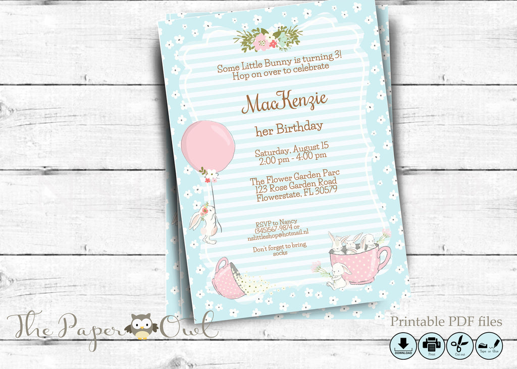 Bunny Birthday Party invitation, printable - the paper owl
