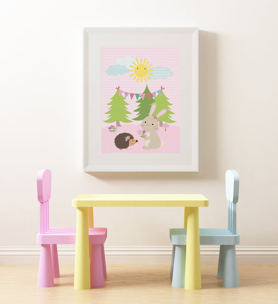 Bunny in the Forest wall art poster, printable