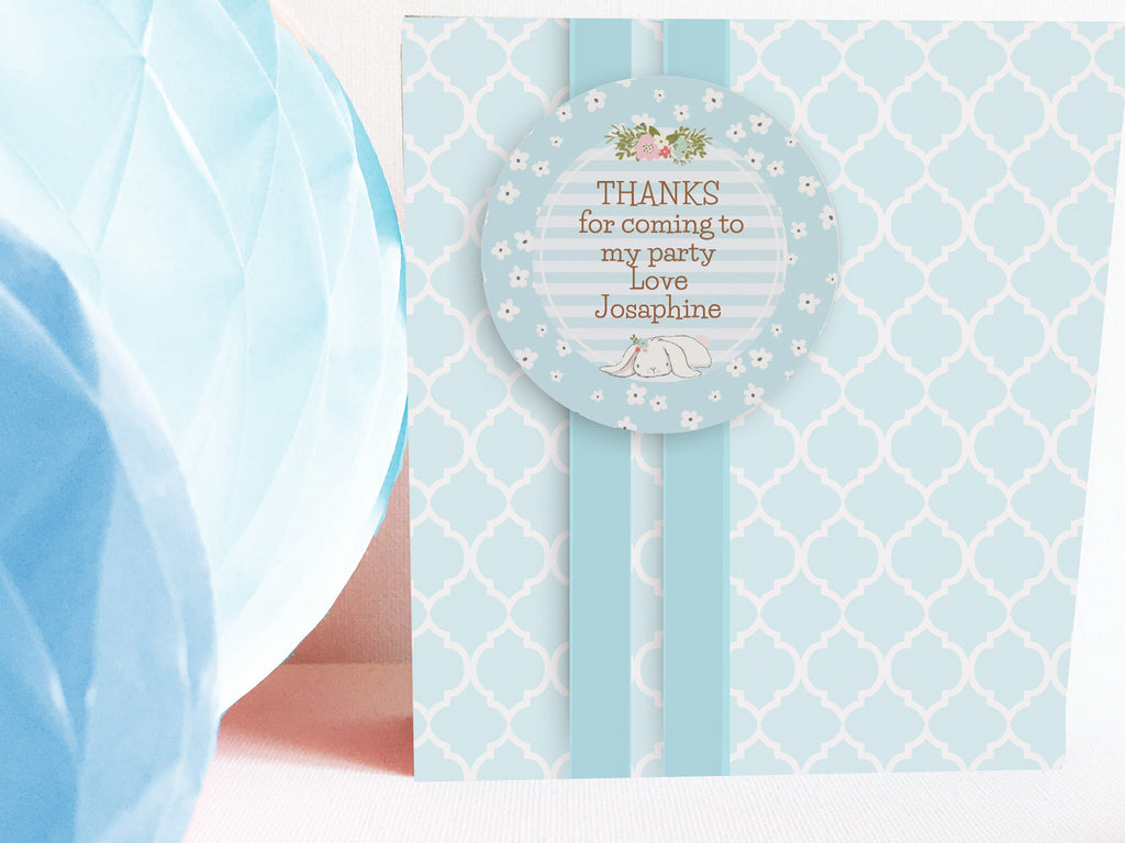 Bunny 2'inch circle Thank You tags, editable, printable - the paper owl