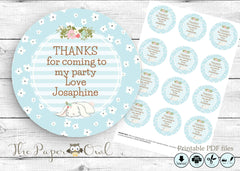 Bunny 2'inch circle Thank You tags, printable - the paper owl