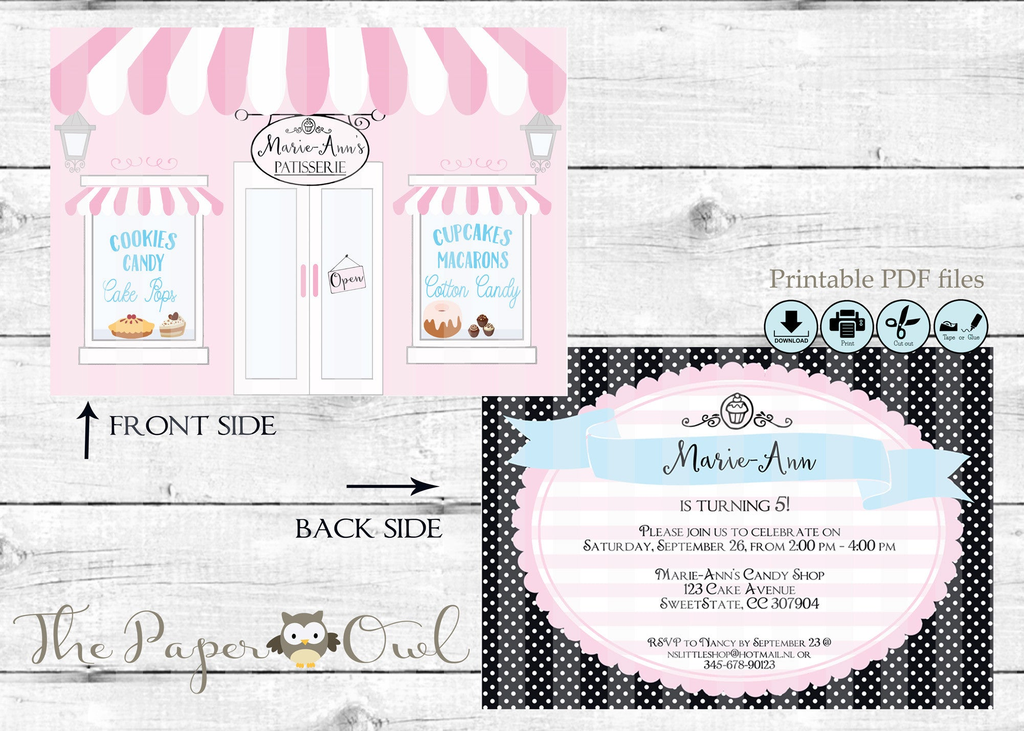 Printable Cake Bakery Shop party invitation, customize yourself– The Paper Owl