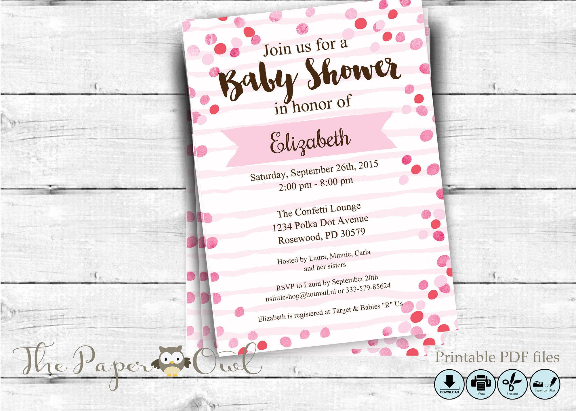 Confetti baby shower invitation, you can customize - The Paper Owl