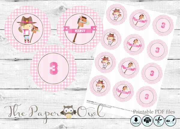 CowGirl party cupcake toppers, customize yourself - The Paper Owl