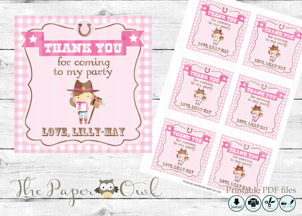 CowGirl party 3inch thank you tag, customize yourself - The Paper Owl