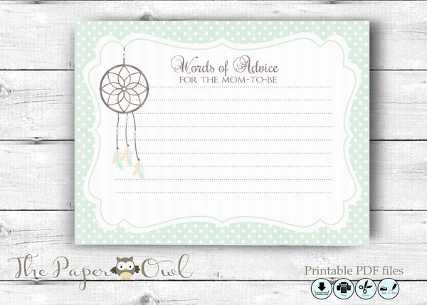 Dreamcatcher Baby Shower Advice card for the Mom to Be - The Paper Owl