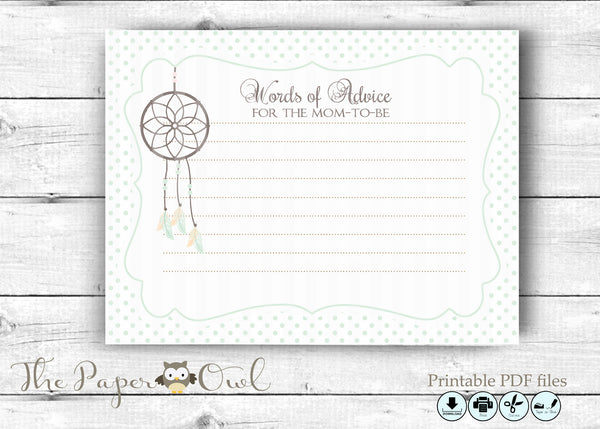 Dreamcatcher Baby Shower Advice card white for the Mom to Be - The Paper Owl