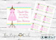 Dress Up party 3inch thank you tag, customize yourself The Paper Owl