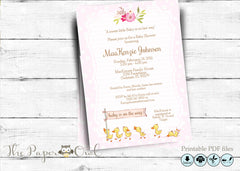 Duck Baby Shower invitation, printable - the paper owl